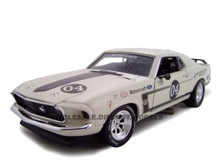 1969 Ford Mustang Boss 302 Racer White 4 1/24 Diecast Car by Unique Replica