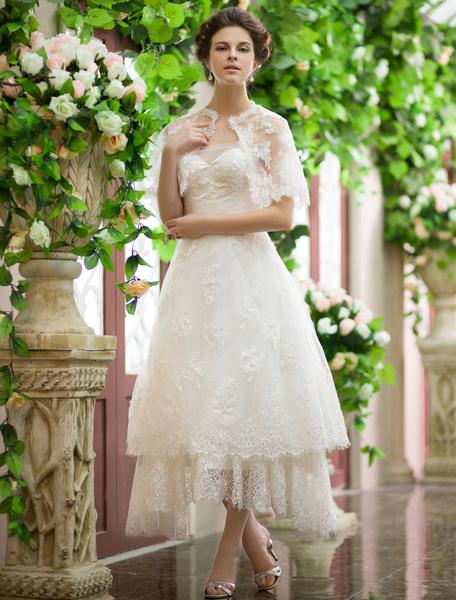 Milanoo Vestido de novia de color marfil con lentejuelas para playas