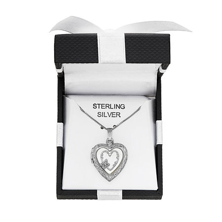 Womens White Sterling Silver Heart Locket Necklace, One Size , No Color Family