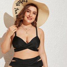 Grosse Grossen - Bikini Top mit Wickel Design, Buegel und Band hinten