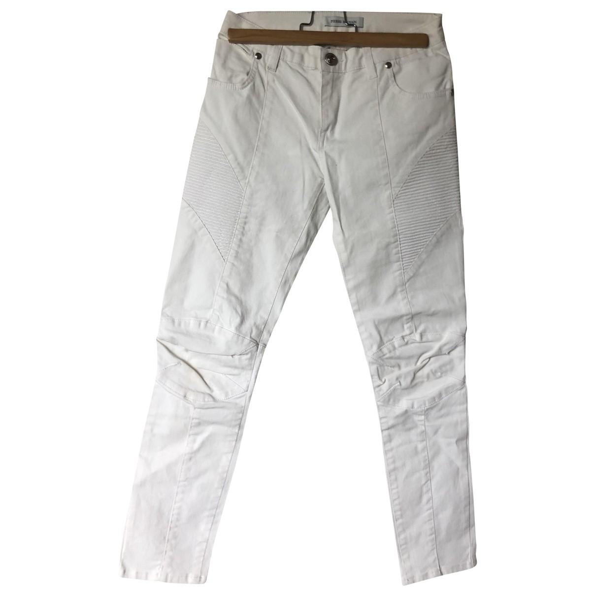Pierre Balmain \N White Cotton Trousers for Women 36 FR