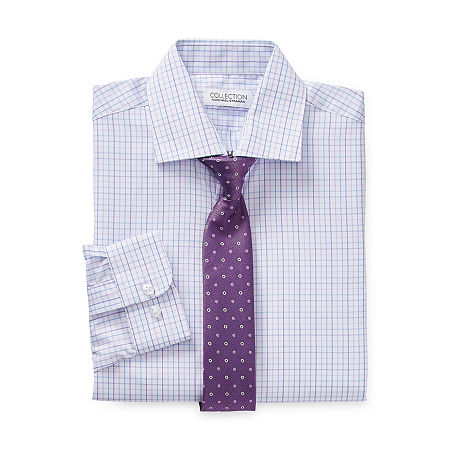 Collection by Michael Strahan Little & Big Boys Spread Collar Long Sleeve Shirt + Tie Set, 8 , Purple