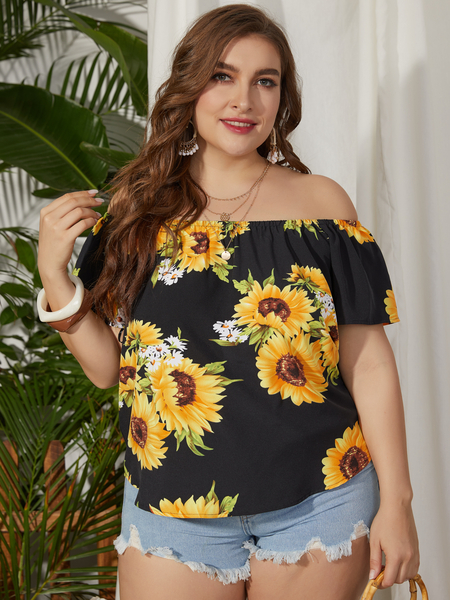 YOINS Plus Size Black Floral Print Off The Shoulder Short Blouse