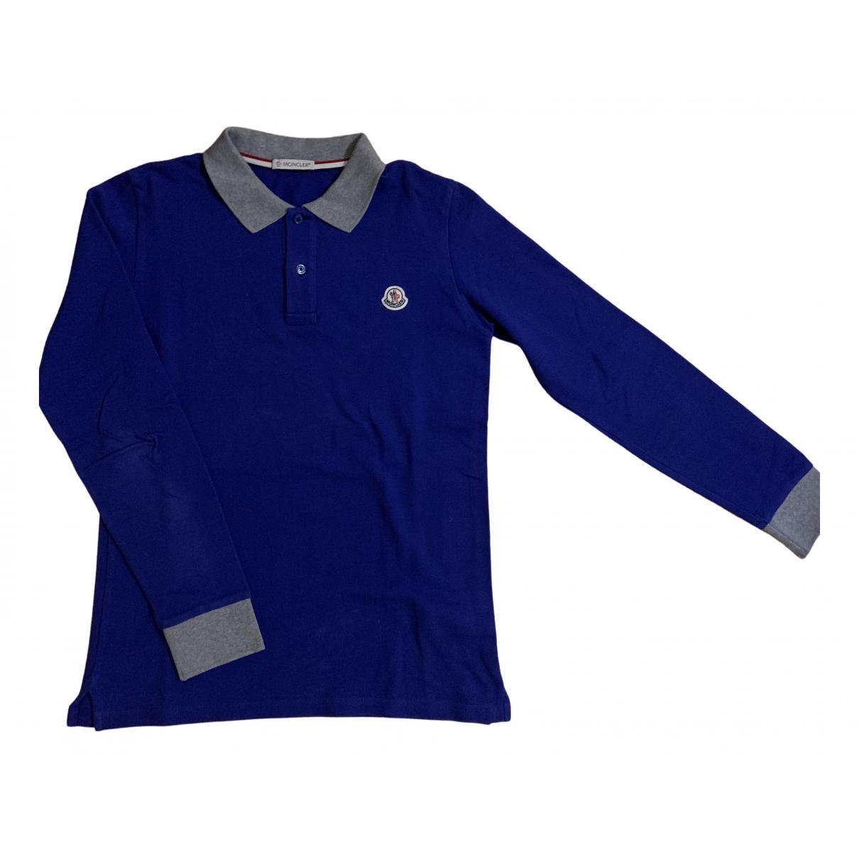 Moncler - Top   pour enfant en coton - bleu