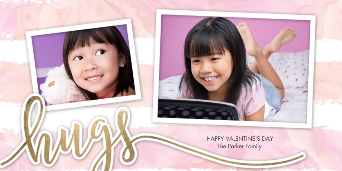 Valentine's Cards Flat Matte Photo Paper Cards with Envelopes, 4x8, Card & Stationery -Valentine Hugs Gold Snapshots