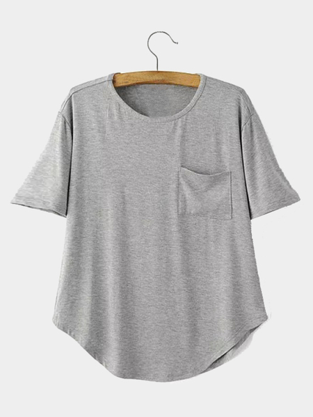 Yoins Gray Short Sleeve Round neckline T-shirt with Pocket