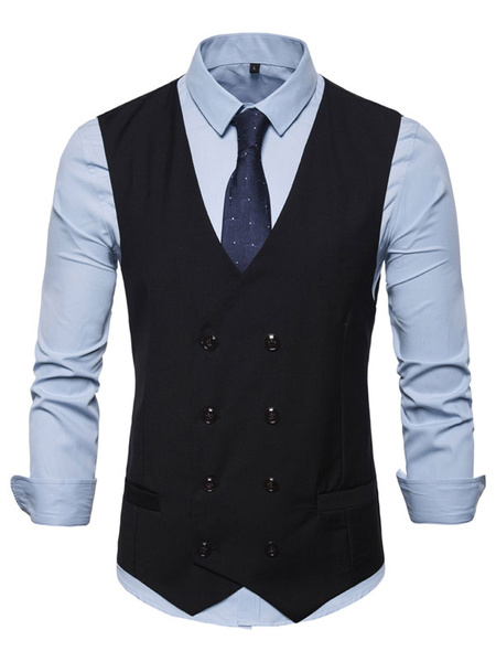 Milanoo Men Waistcoat Vest Double Breasted Button Prom Gilet Clubwear