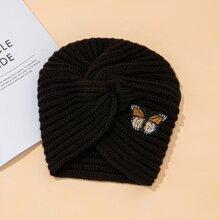 Strick Turban Hut mit Schmetterling Stickereien