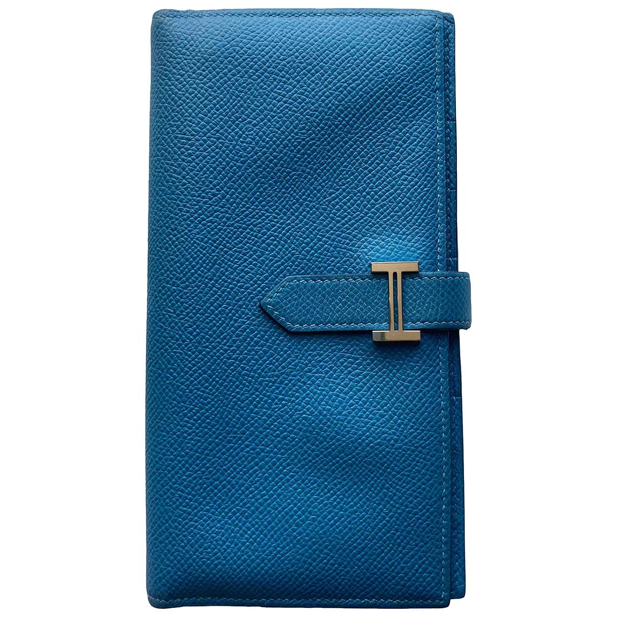 Hermes Bearn Portemonnaie in  Blau Leder