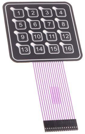 APEM 16 Key Illuminated Membrane Keypad