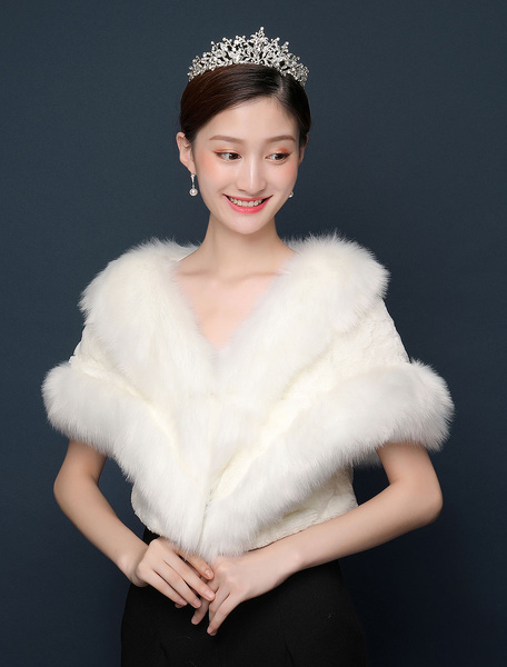 Milanoo Ivory Wedding Wrap Faux Fur Jacket Winter Bridal Shawl