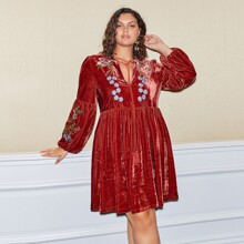 Plus Tie Neck Lantern Sleeve Embroidery Floral Velvet Dress