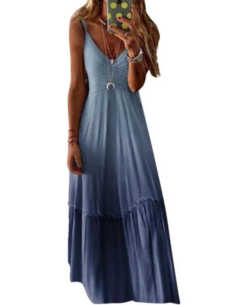 Milanoo Purple Maxi Dresses Ombre Sleeveless Straps Neck Slim Fit Long Summer Dress