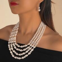 3 piezas set joya con perla artificial