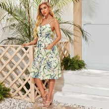 Kleid mit Knopfen vorn, Taschen Flicken, tropischem & Blumen Muster