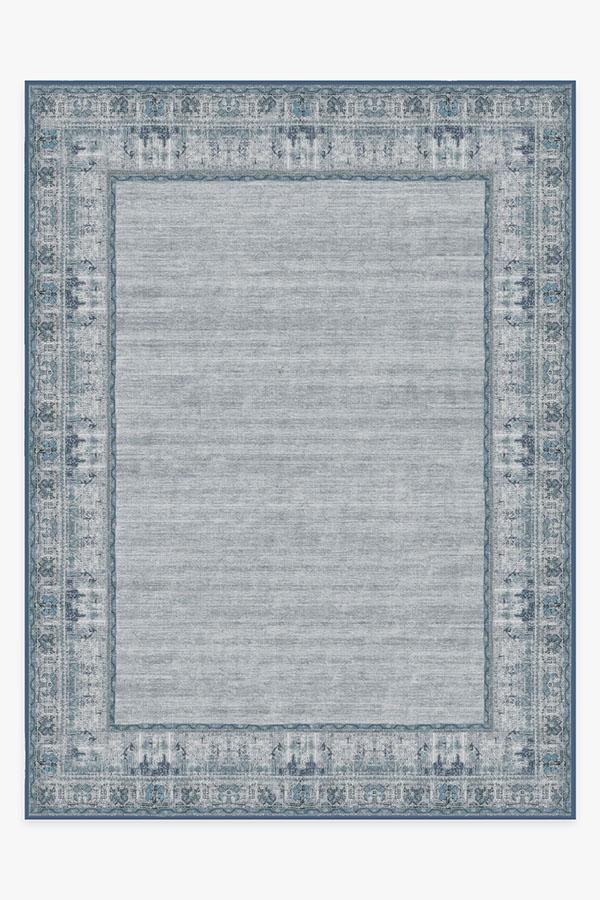 Washable Rug Cover | Vintage Daisy Bordered Blue Rug | Stain-Resistant | Ruggable | 9'x12'