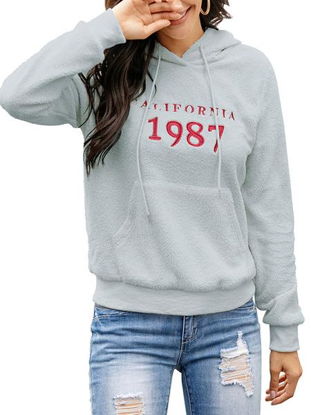 Milanoo Hoodie For Woman Ecru White Long Sleeves Letters Print Polyester Hooded Sweatshirt