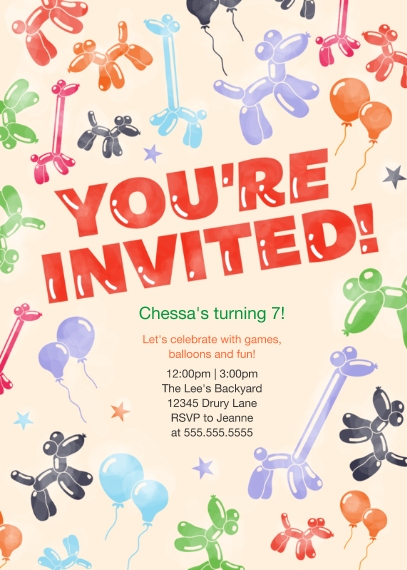 Kids Birthday Party Invites Mail-for-Me Premium 5x7 Folded Card , Card & Stationery -Balloon Animals