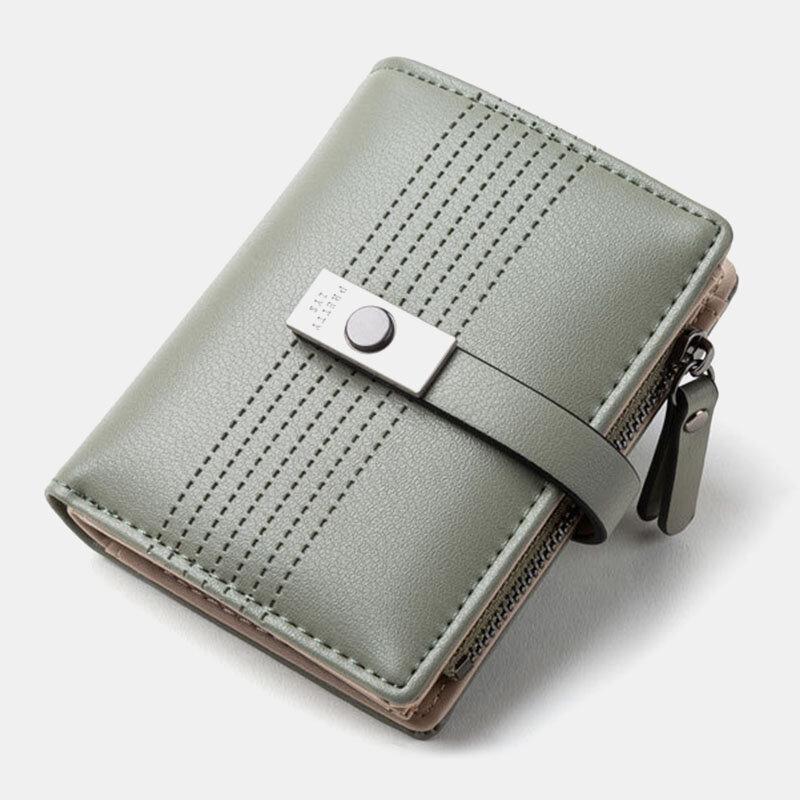 Women 6 Card Slots Bifold Solid Short Wallet Purse