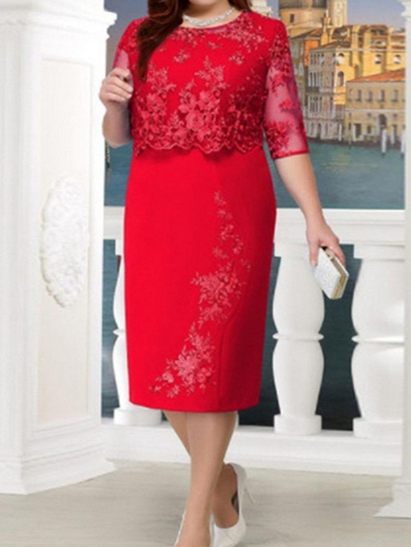 Ericdress Plus Size Lace Half Sleeve See-Through Regular Bodycon Dress