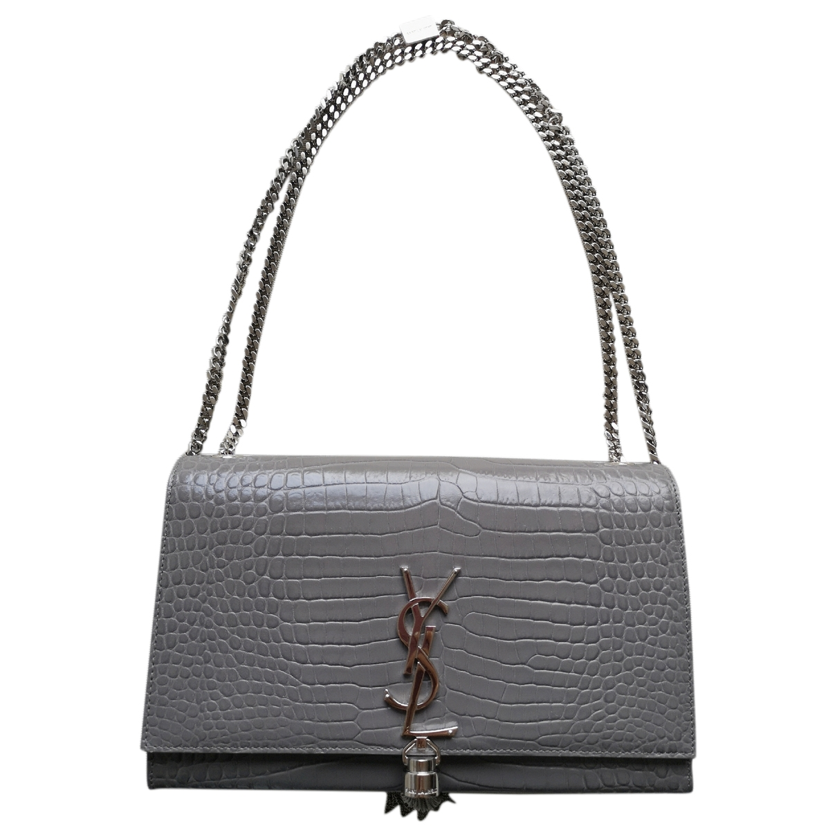 Saint Laurent Kate monogramme Handtasche in  Grau Leder