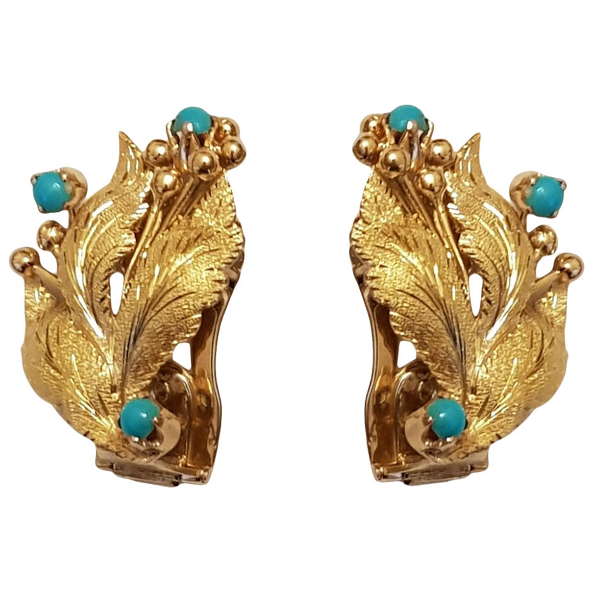 Non Sign� / Unsigned Turquoises Yellow Yellow gold Earrings for Women \N