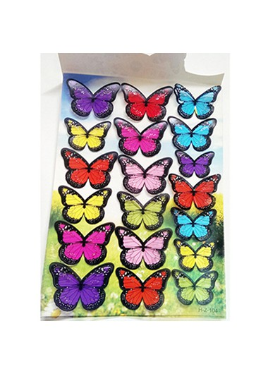 1sheet 3D Butterfly Colorful Wall Sticker - One Size