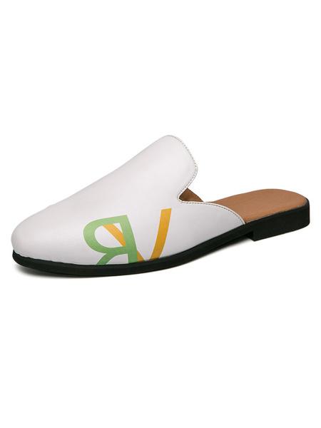 Milanoo Mens Sandals Slip-On Artwork PU Leather Rubber Sole Men\'s Mules
