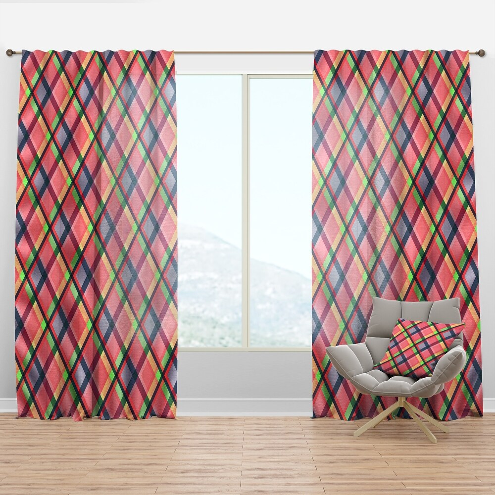 Designart 'Tartan Geometrical Texture I ' Mid-Century Modern Curtain Panel (50 in. wide x 120 in. high - 1 Panel)