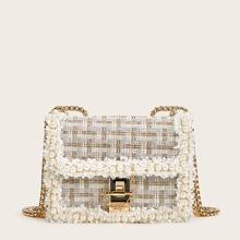 Tweed Tasche mit Kunstperlen Dekor und Kette