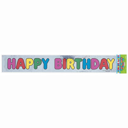 Foil Happy Birthday Banner for Home Party Decoration, 12ft