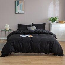 Einfarbige Bettwaesche Set mit Pompon ohne Fuellstoff