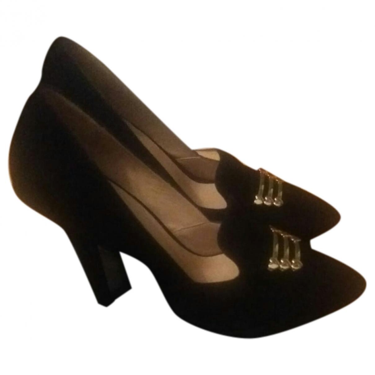 Moschino Love - Escarpins   pour femme en suede - noir