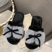Pom Pom Bow Fluffy Slippers