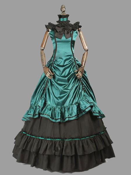 Milanoo Disfraz Halloween Disfraces retro victorianos Disfraz de arco con volantes para mujer Disfraz del siglo XVIII Carnaval Halloween