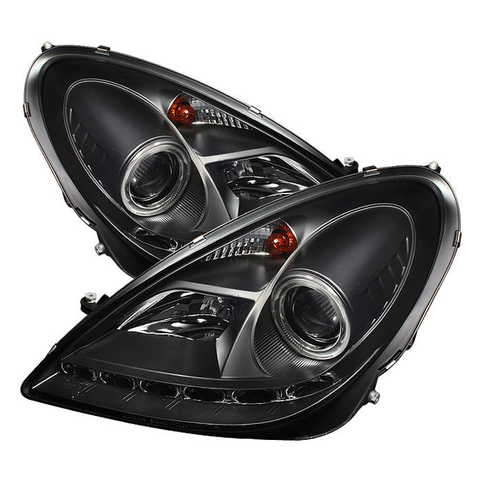 Spyder Auto PRO-YD-MBSLK05-DRL-BK Black DRL Projector Headlights with High H1 and Low H7 Lights Included Mercedes Benz SLK280 with Halogen Lights 06-0