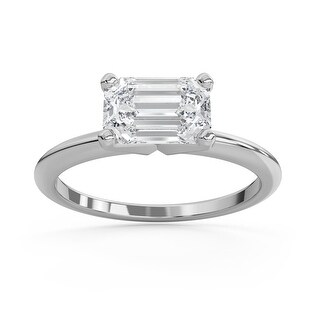 2 CT Moissanite East West Emerald Cut Solitaire Ring in 14K Gold (3 - White)