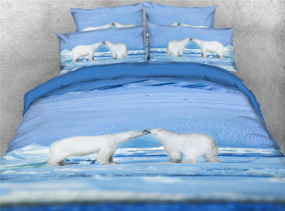 Couple Polar Bears Machine Wash Four-Piece Set Duvet Cover Set Polyester Bedding Sets