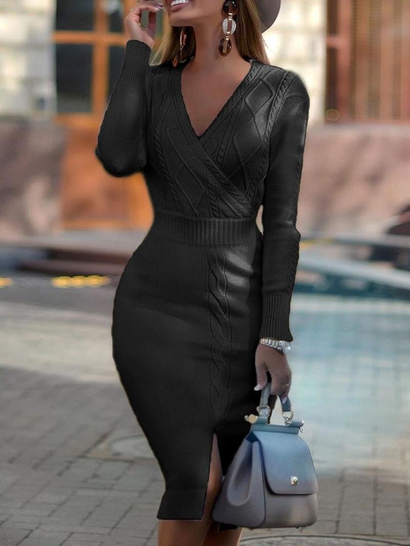Ericdress V-Neck Mid-Calf Long Sleeve Pullover Bodycon Dress
