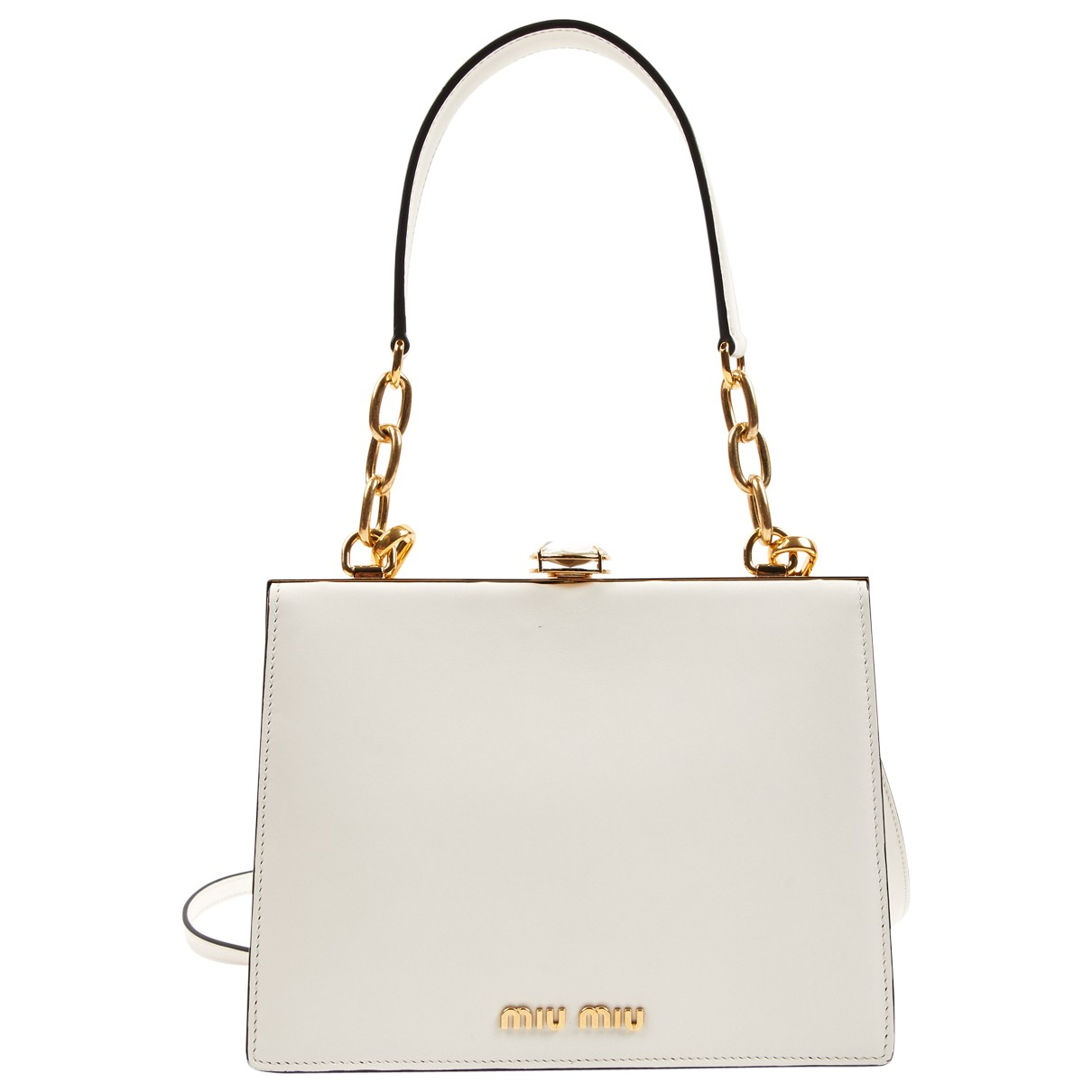 Miu Miu Miu Crystal Handtasche in  Weiss Leder