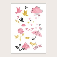 1pc Flower & Star Pattern Tattoo Sticker