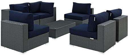 Sojourn Collection EEI-1883-CHC-NAV-SET 7 PC Outdoor Patio Sectional Set with Powder Coated Aluminum Frame  Synthetic Rattan Weave Material and