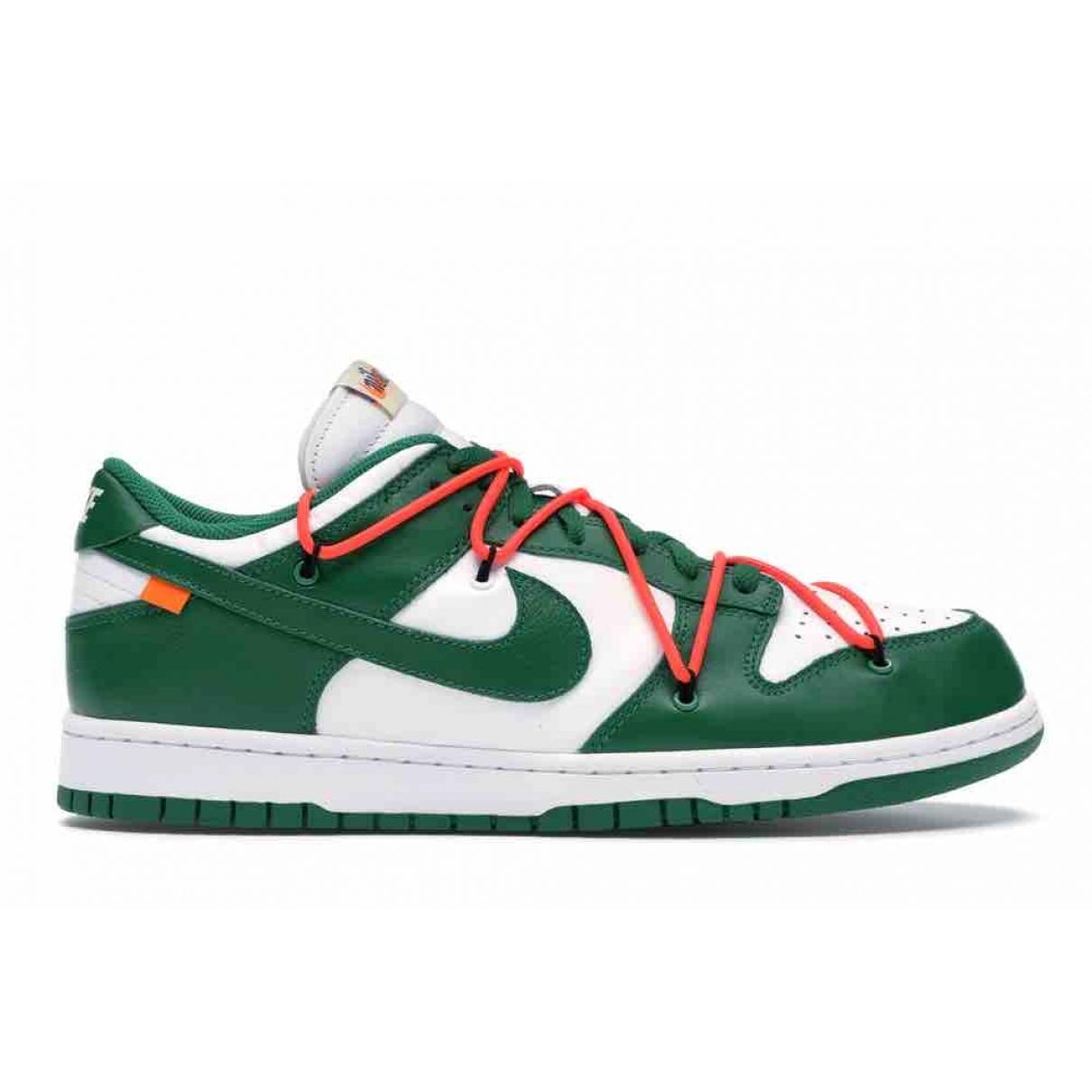 Nike X Off-white - Baskets Dunk Low pour homme en toile - vert