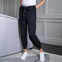 Maternity Tie Front Slant Patched Pocket Cord Pants