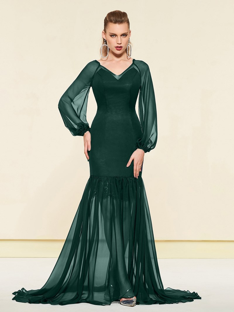 Ericdress Long Sleeves V-Neck Trumpet Evening Dress