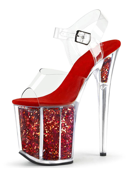 Milanoo Las mujeres sandalias atractivas Negro PU del dedo del pie del pio del cuero sandalias atractivas transparentes