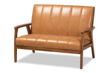 BBT8011A2-TAN LOVESEAT Baxton Studio Nikko Mid-century Modern Tan Faux Leather Upholstered and Walnut Brown finished Wood
