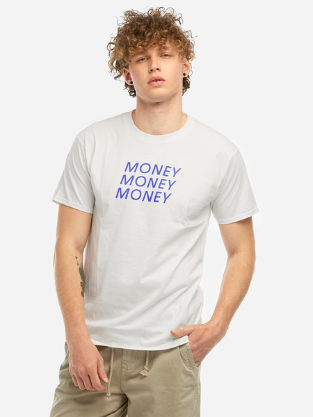 Yoins White Money Print Crew Neck Short Sleeve Men's T-Shirt