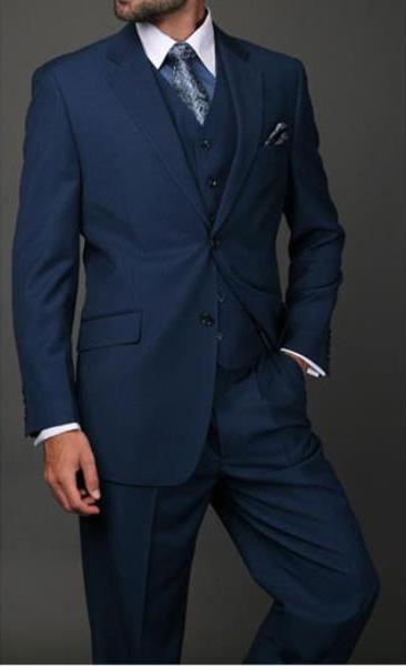 Statement Mens Indigo 3 Piece 2 Button Italian Designer Suit