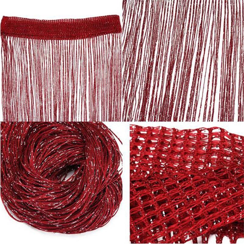 3*3M Strip Tassel String Sheer Curtain Flat Silver Room Divider